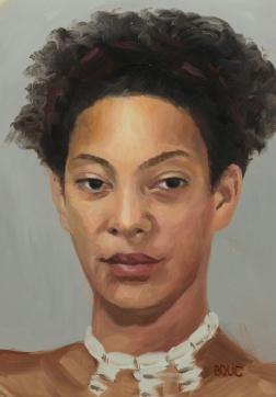 "Portrait of Pigeon, oil on Duralar Matte, 12x9"""