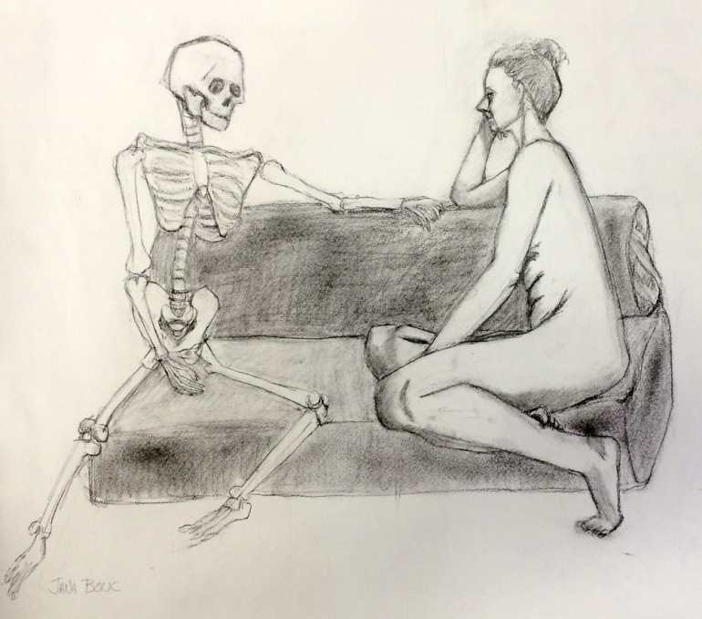 Halloween Date, charcoal on paper