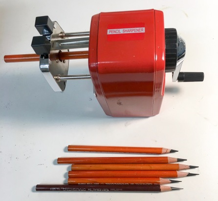 Regular-size pencil sharpener, long points possible