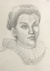Fallon in Elizabethan Collar, Pencil drawing