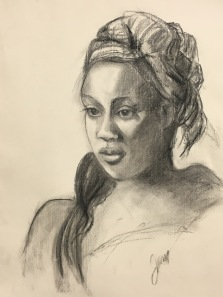 Woman with headdress, charcoal on paper