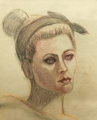 Headband (Martian?), conte on paper