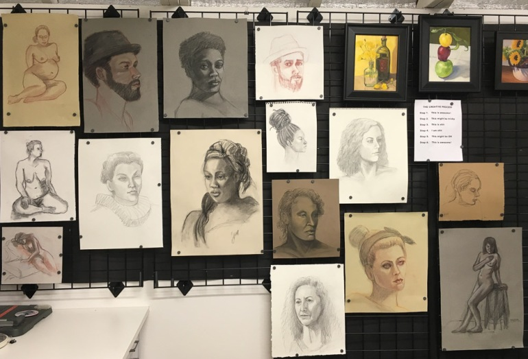 Figure drawing wall in studio