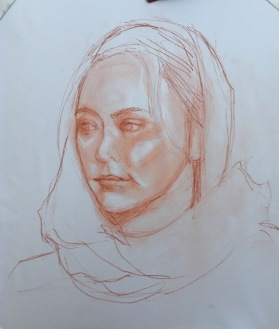 Conte drawing from first 20 minute session for underpainting