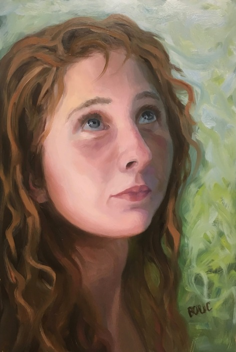 Forest Girl #2-C, Oil Painting on Mylar, 12x8""