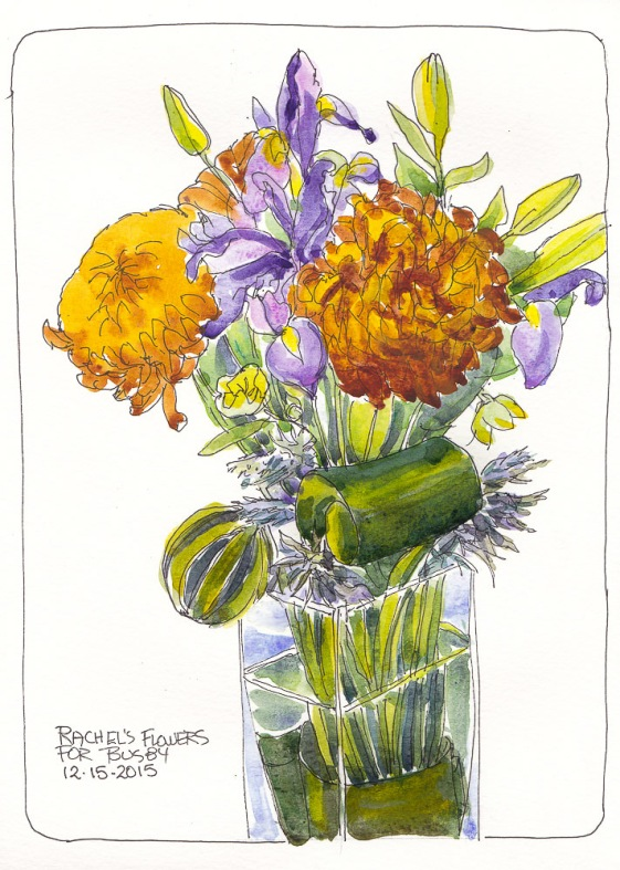Bouquet for Busby, ink and watercolor, 11x8.5 inches