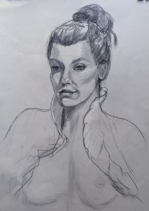 Fallon, charcoal on toned paper, life-size.