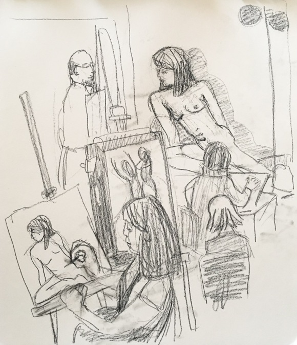 """Sketching people drawing the model during a """"boring"""" pose"""