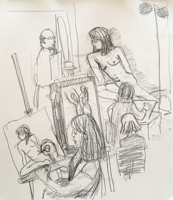 "Sketching people drawing the model during a ""boring"" pose"