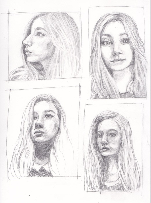 "4 views of ""Moon Child Luna 2"" in graphite"