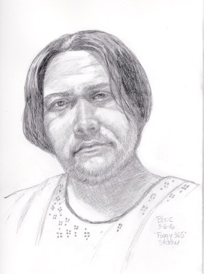 "Artist known as ""Foggy 365"" in the hospital, graphite and conte pencil"