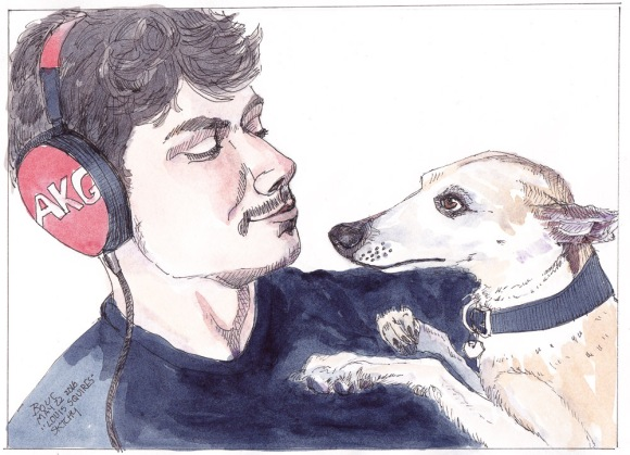 """Sketch of Louis Squires and his whippet from Sktchy app, ink and watercolor, 9x12"""""""