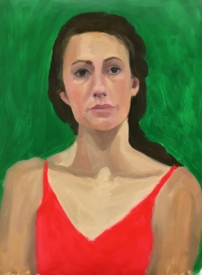 Red Green Complementary Color Portrait #1. Oil on Mylar, 14X11 inches