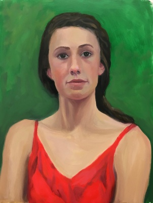 Red Green Complementary Color Portrait #2. Oil on Mylar, 14X11 inches