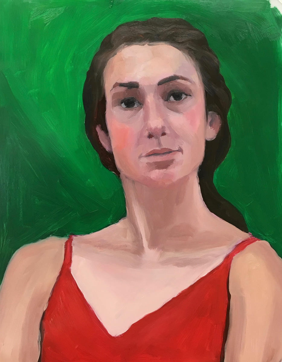 Red Green Complementary Color Portrait #3. Oil on Mylar, 14X11 inches