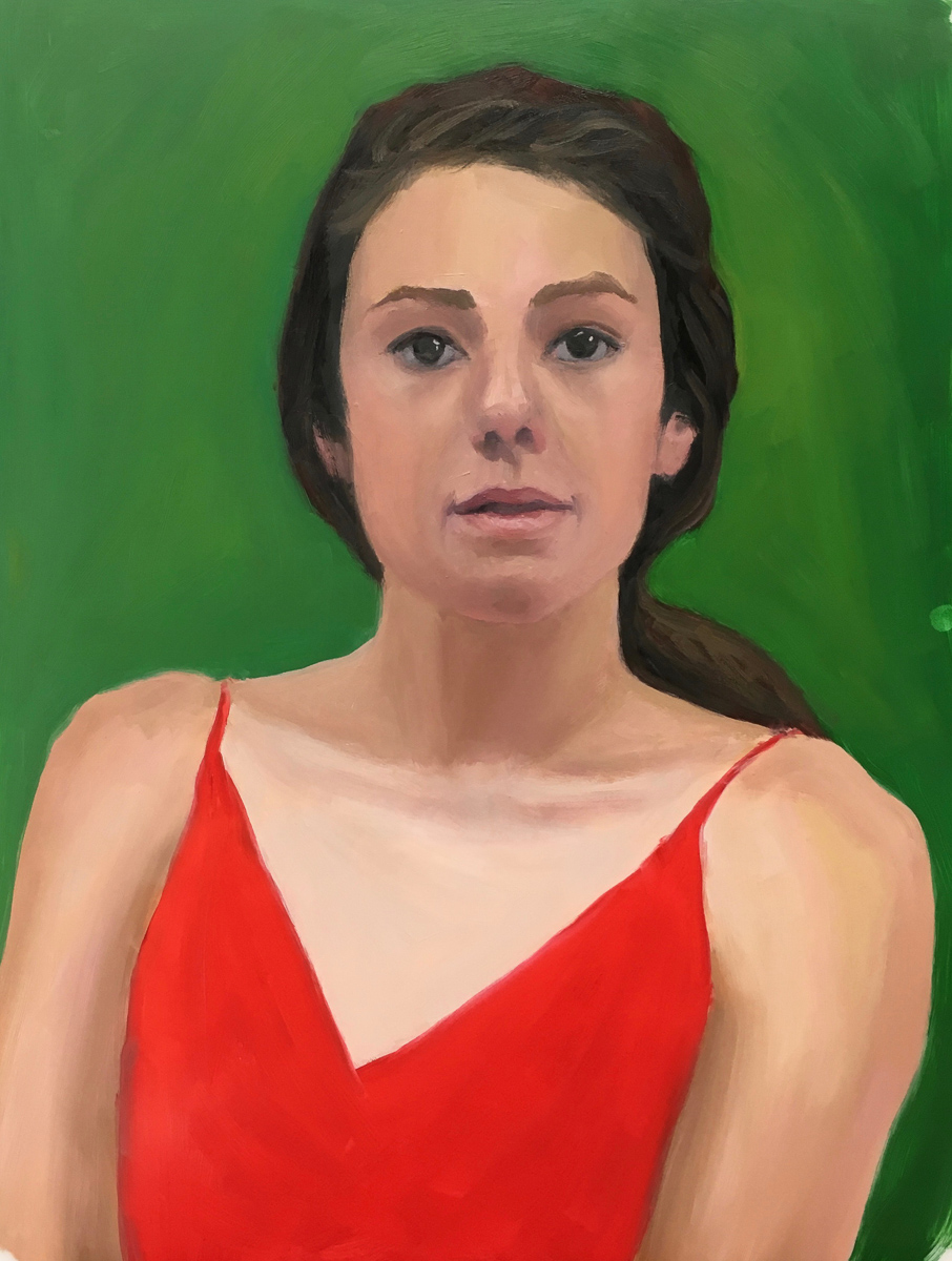 Red Green Complementary Color Portrait #5, Oil on Mylar, 14X11 inches
