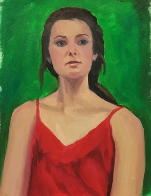 Red Green Complementary Color Portrait #4, Oil on Mylar, 14X11 inches