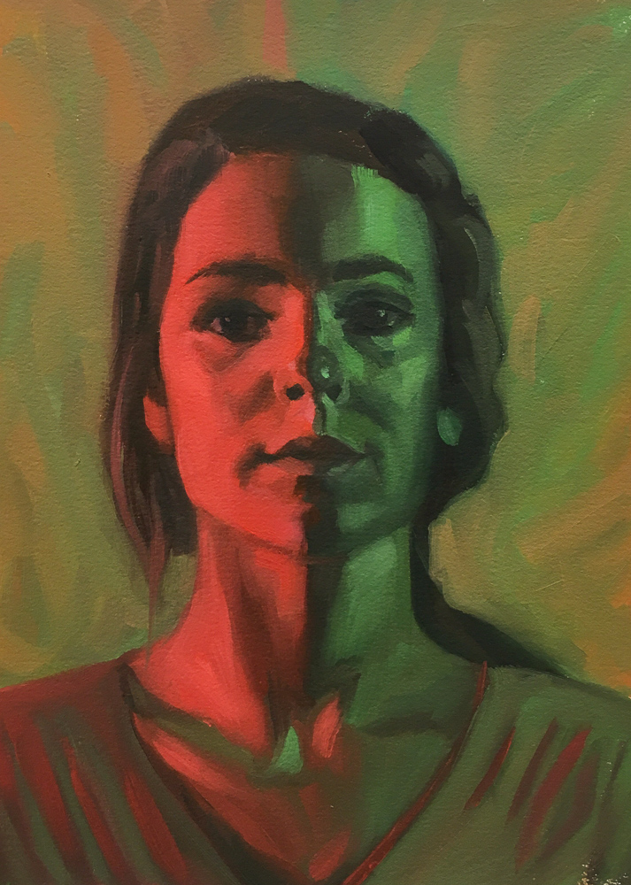 Red Green Complementary Color Portrait #6, Oil on Mylar, 14X11 inches