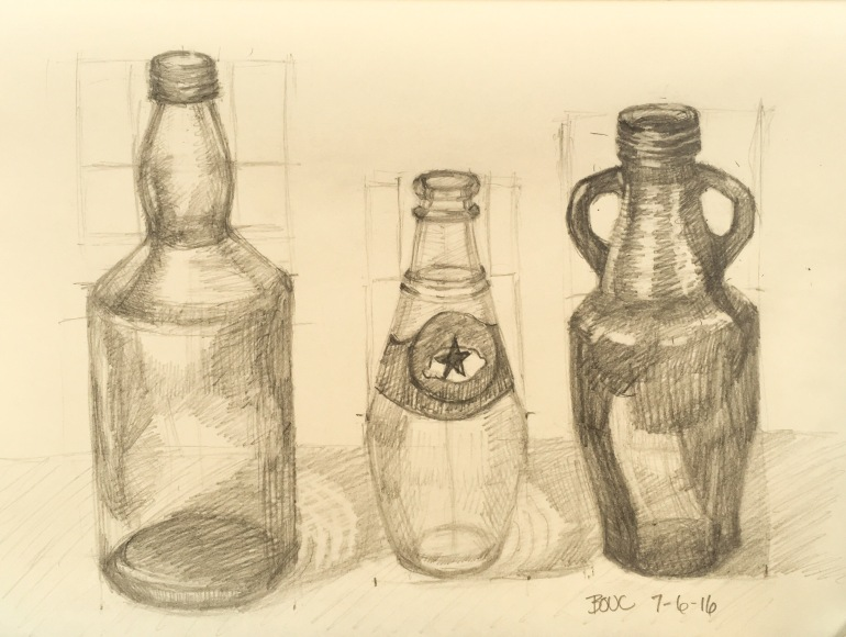 Daily Sketch, bottle-drawing practice, graphite, 8x10 inch