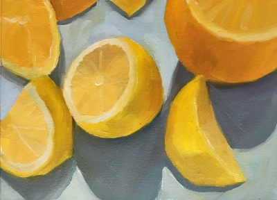 Lemon still life #1, 5.5x7x5 inches on Arches Oil Paper