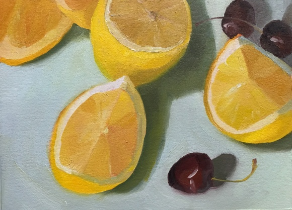 Lemon still life #2, 5.5x7x5 inches on Arches Oil Paper