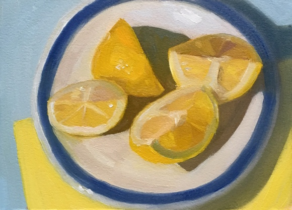 Lemon still life #4, 5.5x7x5 inches on Arches Oil Paper
