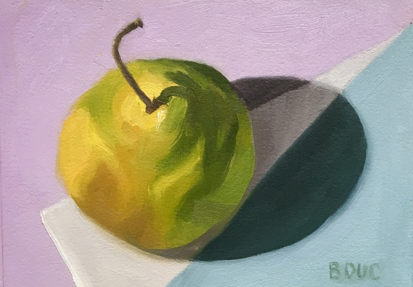 One Hour Pear, oil on Arches Oil Paper, 5x7 inches