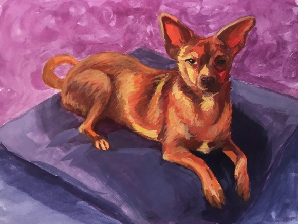 """Chihuahua: Make color from B&W: Gouache, 8x10"""""""