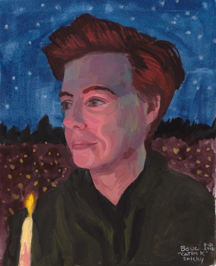 "Candlelight, Gouache portrait for Sktchy, 10x8"""