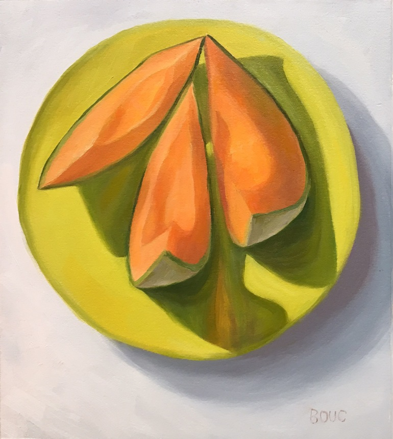 Kissing Cantaloupe, still life oil painting on Arches Oil Paper, 10.5 x 9 inches