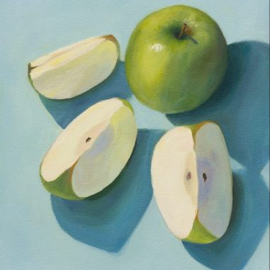 Granny Smith Sliced, oil on Arches Oil Paper, 11x9 inches