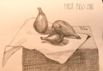 First Figs of 2016, 2B Pencil in 8x10 Moleskine