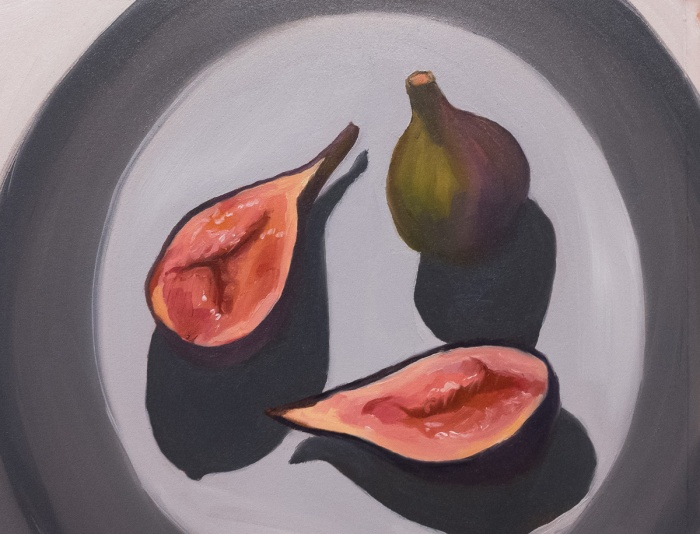 Figs on a Grey Plate, oil on Arches Oil Paper, 9x11""