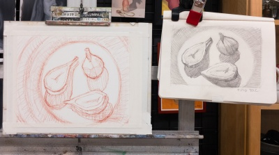 Drawing composition with Pitt Pastel Pencil onto Arches Oil Paper, working from life and referring to study