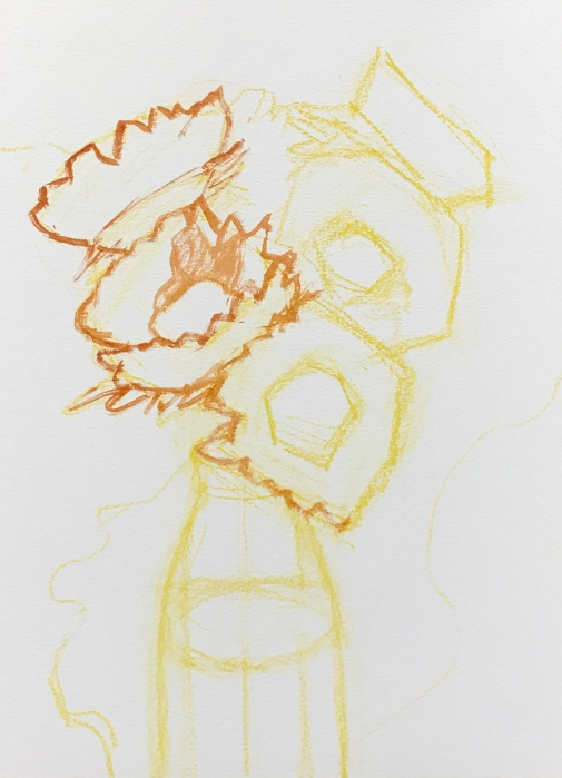 Sketched in yellow pastel pencil and start of burnt umber block in