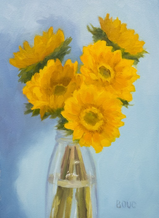Sunflower Attempt 3, oil on Arches Oil Paper, 12x9