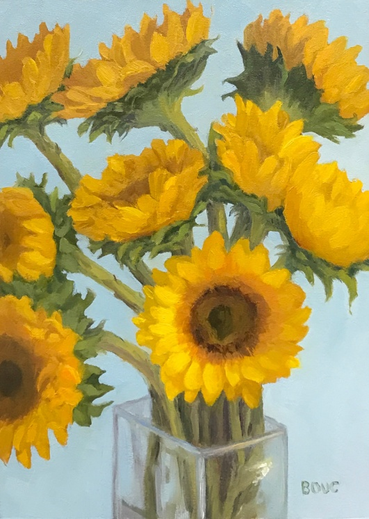 Sunflowers #4, Oil on Arches Oil Paper, 12x9""