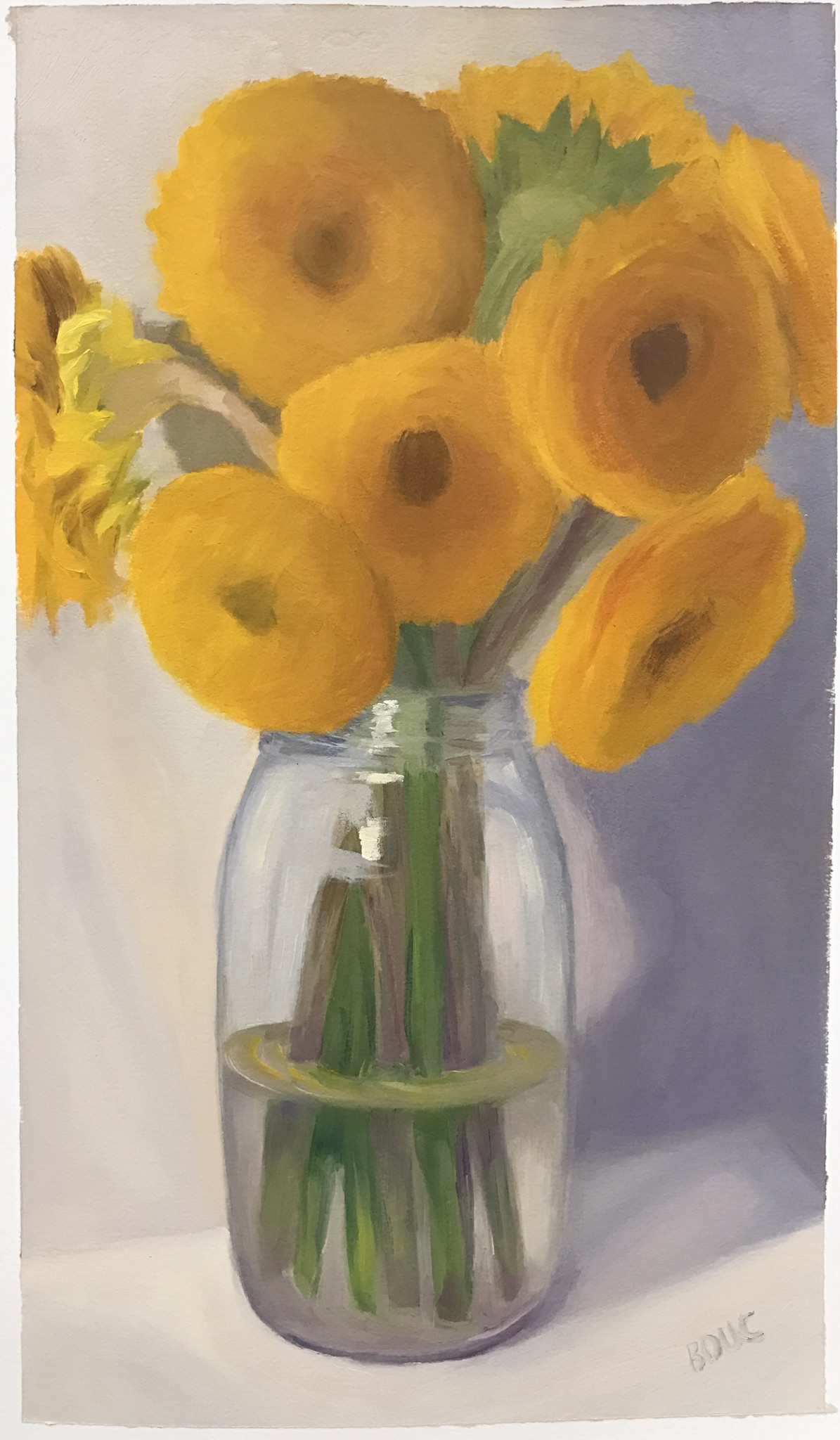Sunflowers #1-A; oil on Arches Oil Paper, 17