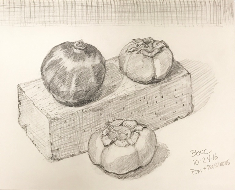Pomegranate and persimmons on a brick. 2B pencil in 8x10 moleskine.