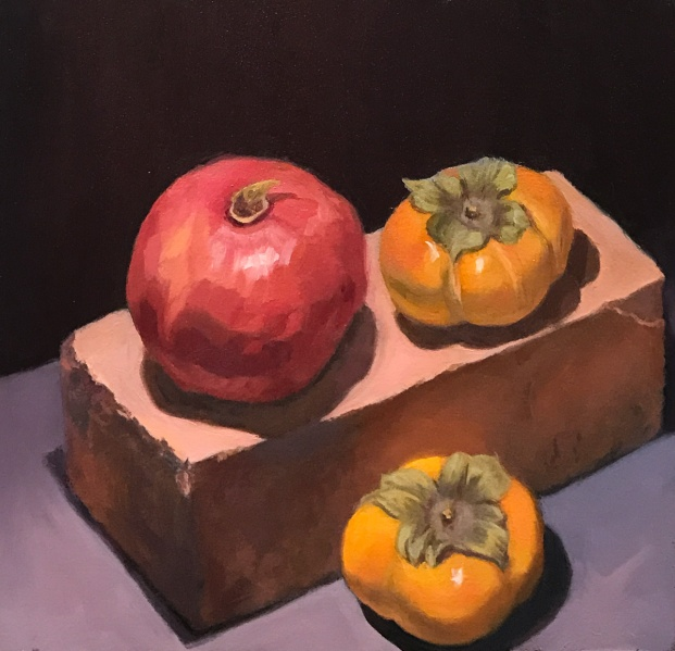 Pomegranate, Persimmons, Brick, Oil on Arches Oil Paper, 10x10""