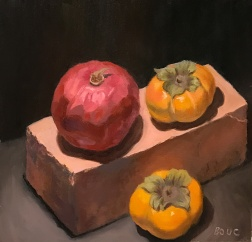 First layer of dark paint on background and foreground, adjustments to fruit