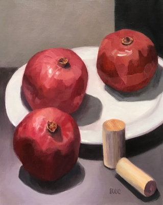 Pomegranates and Corks, oil still life on panel, 10x8""