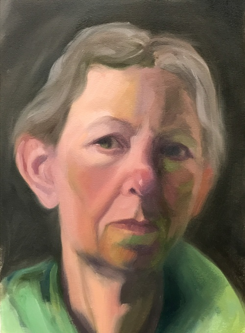 Self-portrait 1/27/17, oil on Arches Oil Paper, 12x9""