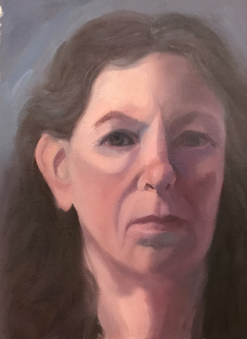 Self-portrait 1/25/17, oil on Arches Oil Paper, 12x9""
