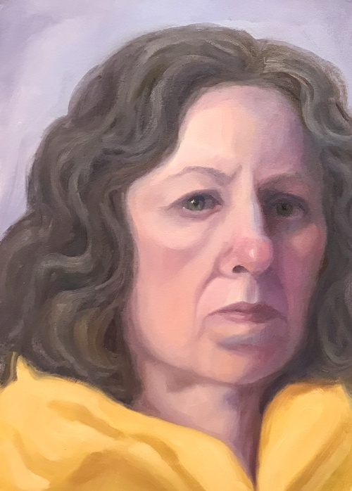 Self-portrait 2/3/17, oil on Arches Oil Paper, 12x9""