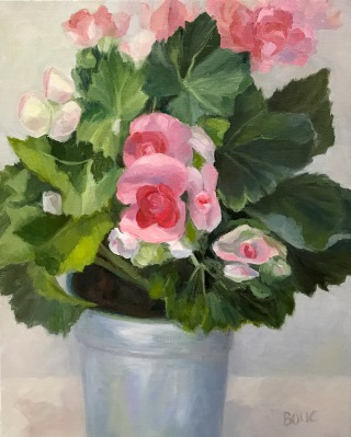 Winter Begonias in Tin Pot, Oil on Linen Panel, 10x8""