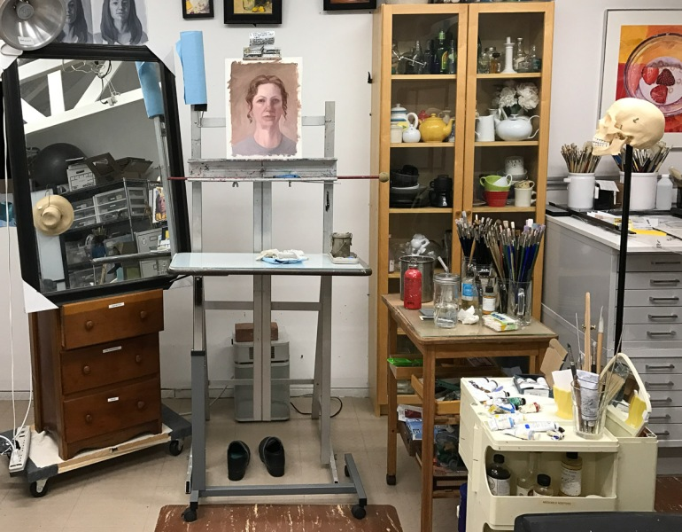 Studio set-up with mirror