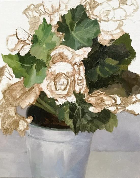 Winter Begonias in Tin Pot, WIP-A
