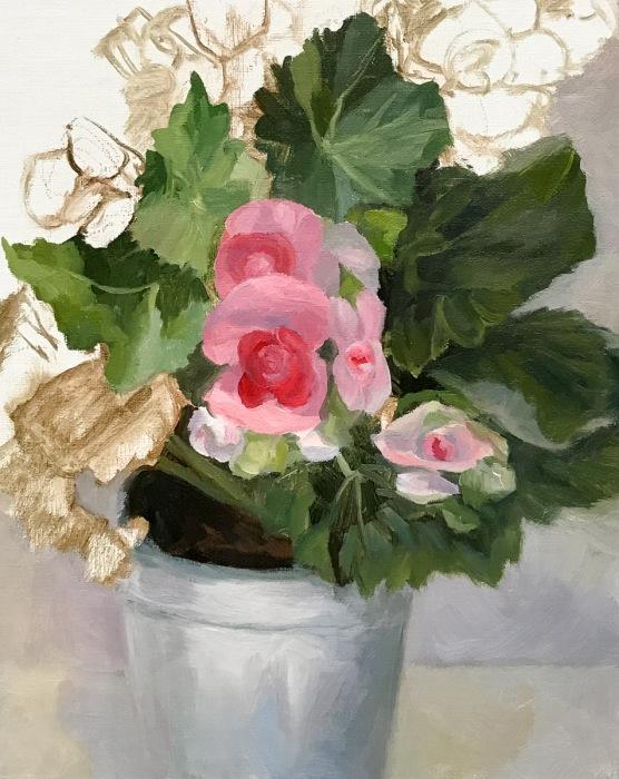 Winter Begonias in Tin Pot, WIP-B