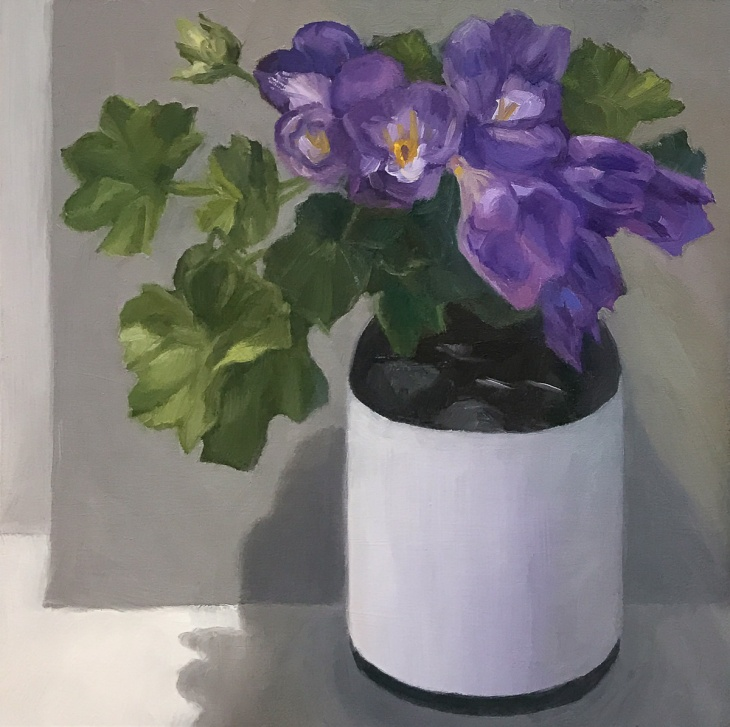 Freesias from Brigitte, oil on panel, 8x8""
